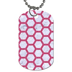 Hexagon2 White Marble & Pink Denim (r) Dog Tag (one Side)