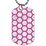HEXAGON2 WHITE MARBLE & PINK DENIM (R) Dog Tag (One Side) Front