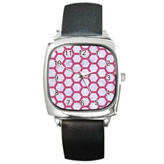 HEXAGON2 WHITE MARBLE & PINK DENIM (R) Square Metal Watch