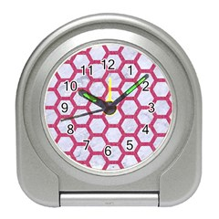 Hexagon2 White Marble & Pink Denim (r) Travel Alarm Clocks by trendistuff