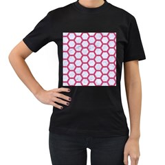 Hexagon2 White Marble & Pink Denim (r) Women s T Shirt (black) (two Sided)