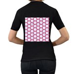 HEXAGON2 WHITE MARBLE & PINK DENIM (R) Women s T-Shirt (Black) (Two Sided) Back