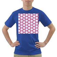 Hexagon2 White Marble & Pink Denim (r) Dark T Shirt