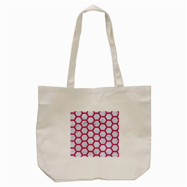 HEXAGON2 WHITE MARBLE & PINK DENIM (R) Tote Bag (Cream)