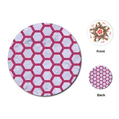 Hexagon2 White Marble & Pink Denim (r) Playing Cards (round)