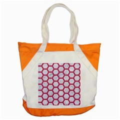 HEXAGON2 WHITE MARBLE & PINK DENIM (R) Accent Tote Bag
