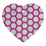 HEXAGON2 WHITE MARBLE & PINK DENIM (R) Heart Ornament (Two Sides) Front