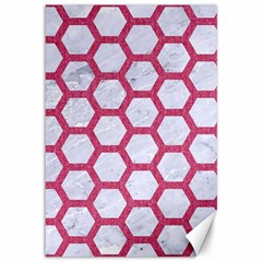 Hexagon2 White Marble & Pink Denim (r) Canvas 12  X 18