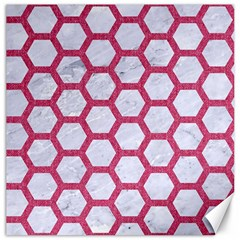 Hexagon2 White Marble & Pink Denim (r) Canvas 20  X 20