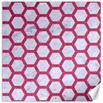 HEXAGON2 WHITE MARBLE & PINK DENIM (R) Canvas 20  x 20   20 x20  Canvas - 1
