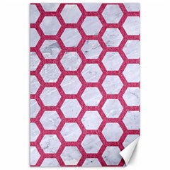 Hexagon2 White Marble & Pink Denim (r) Canvas 24  X 36