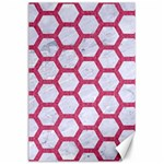 HEXAGON2 WHITE MARBLE & PINK DENIM (R) Canvas 24  x 36  36 x24 Canvas - 1