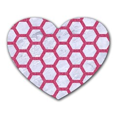 HEXAGON2 WHITE MARBLE & PINK DENIM (R) Heart Mousepads