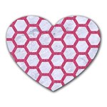 HEXAGON2 WHITE MARBLE & PINK DENIM (R) Heart Mousepads Front