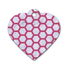 HEXAGON2 WHITE MARBLE & PINK DENIM (R) Dog Tag Heart (Two Sides)