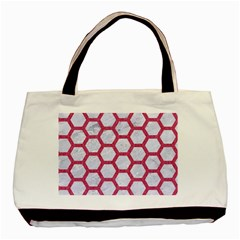 HEXAGON2 WHITE MARBLE & PINK DENIM (R) Basic Tote Bag (Two Sides)