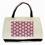 HEXAGON2 WHITE MARBLE & PINK DENIM (R) Basic Tote Bag (Two Sides) Front