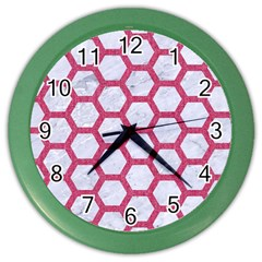 Hexagon2 White Marble & Pink Denim (r) Color Wall Clocks