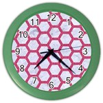 HEXAGON2 WHITE MARBLE & PINK DENIM (R) Color Wall Clocks Front