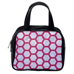 HEXAGON2 WHITE MARBLE & PINK DENIM (R) Classic Handbags (One Side)