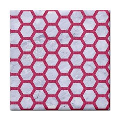 Hexagon2 White Marble & Pink Denim (r) Face Towel