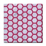 HEXAGON2 WHITE MARBLE & PINK DENIM (R) Face Towel Front