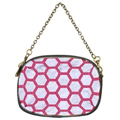 Hexagon2 White Marble & Pink Denim (r) Chain Purses (one Side)  by trendistuff