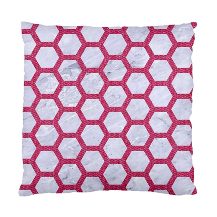 HEXAGON2 WHITE MARBLE & PINK DENIM (R) Standard Cushion Case (One Side)