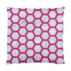 Hexagon2 White Marble & Pink Denim (r) Standard Cushion Case (two Sides)
