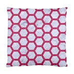 HEXAGON2 WHITE MARBLE & PINK DENIM (R) Standard Cushion Case (Two Sides) Front