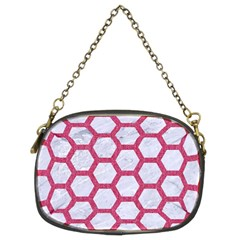 Hexagon2 White Marble & Pink Denim (r) Chain Purses (two Sides)  by trendistuff