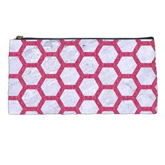 HEXAGON2 WHITE MARBLE & PINK DENIM (R) Pencil Cases