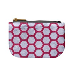 Hexagon2 White Marble & Pink Denim (r) Mini Coin Purses by trendistuff