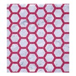 HEXAGON2 WHITE MARBLE & PINK DENIM (R) Shower Curtain 66  x 72  (Large)  58.75 x64.8 Curtain
