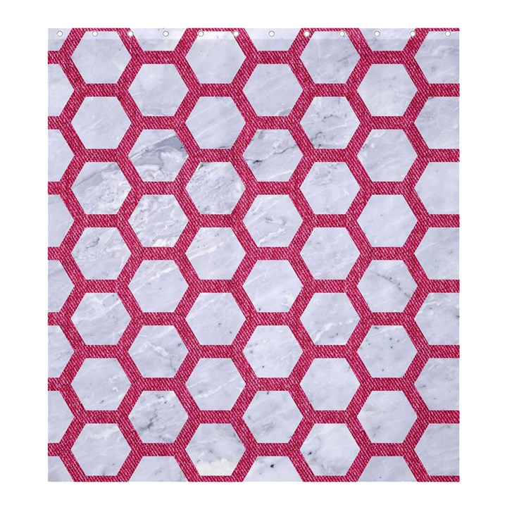 HEXAGON2 WHITE MARBLE & PINK DENIM (R) Shower Curtain 66  x 72  (Large)