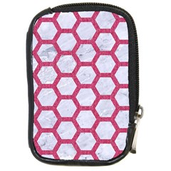 Hexagon2 White Marble & Pink Denim (r) Compact Camera Cases