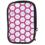 HEXAGON2 WHITE MARBLE & PINK DENIM (R) Compact Camera Cases Front