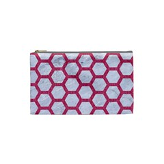 Hexagon2 White Marble & Pink Denim (r) Cosmetic Bag (small)