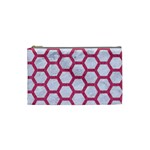 HEXAGON2 WHITE MARBLE & PINK DENIM (R) Cosmetic Bag (Small)  Front