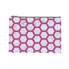 HEXAGON2 WHITE MARBLE & PINK DENIM (R) Cosmetic Bag (Large)