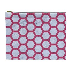 HEXAGON2 WHITE MARBLE & PINK DENIM (R) Cosmetic Bag (XL)