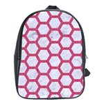 HEXAGON2 WHITE MARBLE & PINK DENIM (R) School Bag (Large) Front