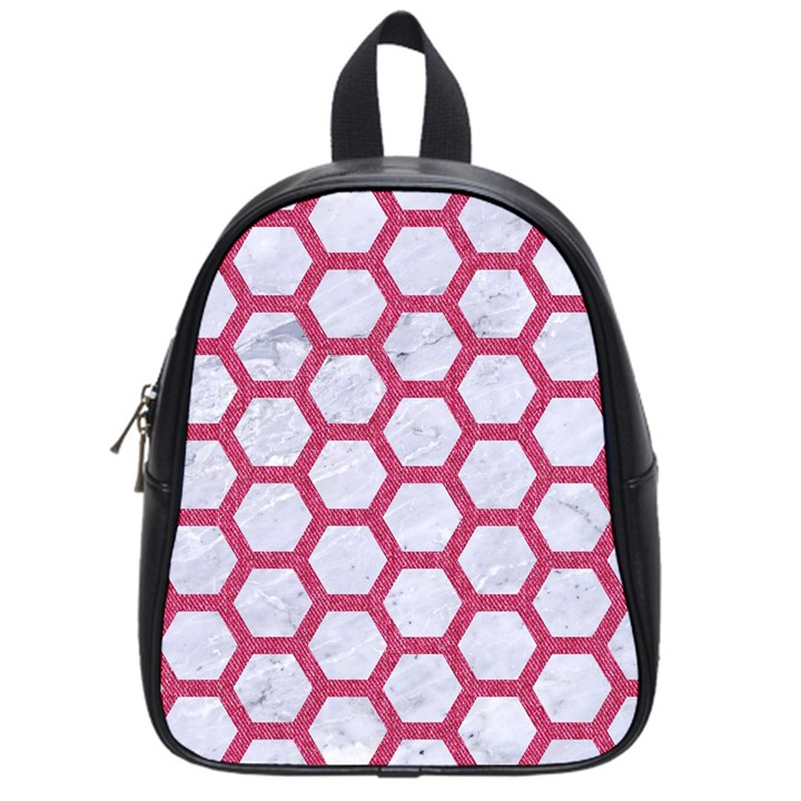 HEXAGON2 WHITE MARBLE & PINK DENIM (R) School Bag (Small)