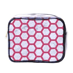 Hexagon2 White Marble & Pink Denim (r) Mini Toiletries Bags by trendistuff