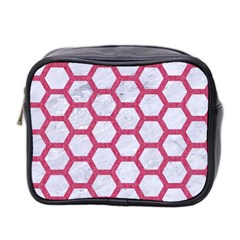 Hexagon2 White Marble & Pink Denim (r) Mini Toiletries Bag 2 Side by trendistuff