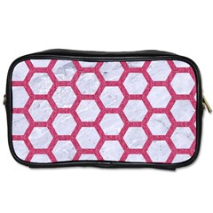 Hexagon2 White Marble & Pink Denim (r) Toiletries Bags 2 Side by trendistuff