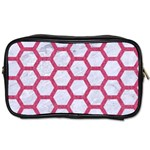 HEXAGON2 WHITE MARBLE & PINK DENIM (R) Toiletries Bags 2-Side Front