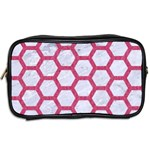 HEXAGON2 WHITE MARBLE & PINK DENIM (R) Toiletries Bags 2-Side Back