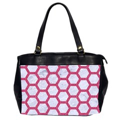 HEXAGON2 WHITE MARBLE & PINK DENIM (R) Office Handbags (2 Sides)