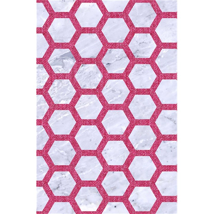 HEXAGON2 WHITE MARBLE & PINK DENIM (R) 5.5  x 8.5  Notebooks